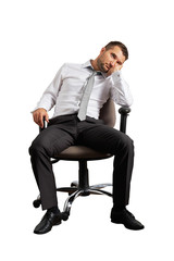 bored businessman sitting on the office chair