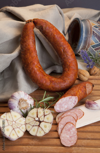 sausage with garlic