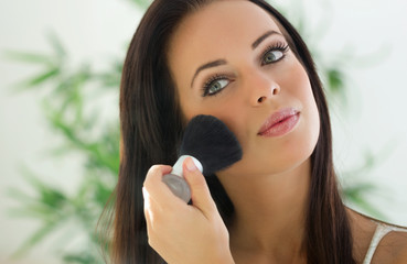 Makeup. Applying Make-up Cosmetics Brush