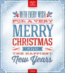 Christmas greeting card - lettering on a snow background