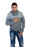 man in sweater on white background
