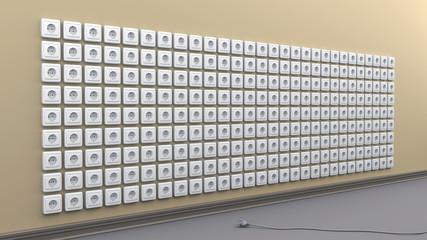 Eine Wand voller Steckdosen