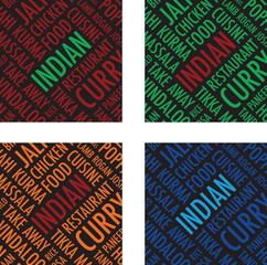 indian square colourful background set
