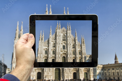 Taking picture with digital tablet in Milan