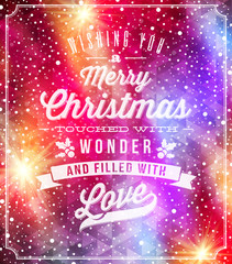 Christmas lettering greetings on a holidays winter background