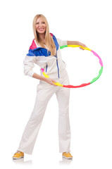 Young woman with hula hoop on white