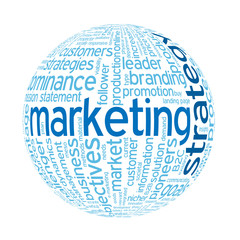 """MARKETING STRATEGY"" Tag Cloud Globe (e-marketing advertising)"