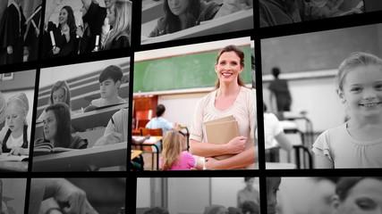 Three short clips of people in school