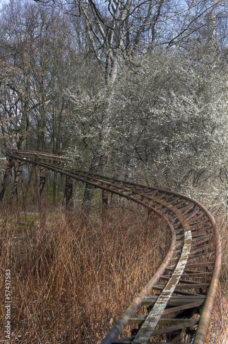 Abandoned roller coaster rails