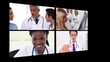 Several different short clips showing doctors