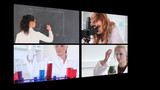 Several different short clips showing lab assistants