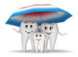 Fototapety 3d Smiling tooth family protection - umbrella