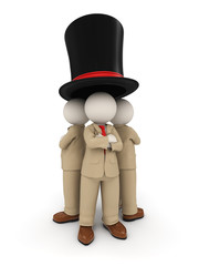 3d business people as team under one roof - famous hat