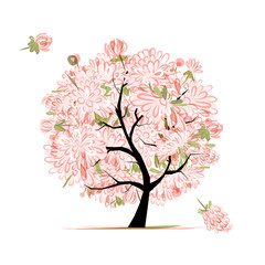 Pink floral tree, sketch for your design