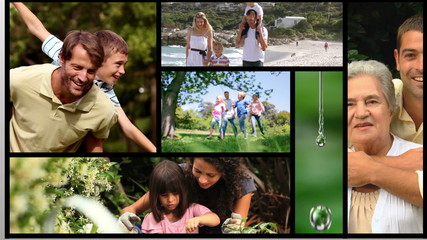Short clips showing families outdoors