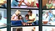 Several short clips showing a family at home
