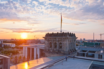 sunset on German Parliament or Bundestag, Berlin