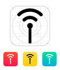 Antenna broadcasting radio signal icon.