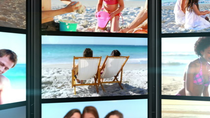 Several short clips showing people on the beach
