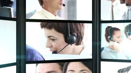 Several short clips showing call center employees