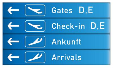 Hinweisschild Check-in Flughafen