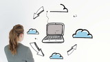 Animation showing cloud computing and a businesswoman