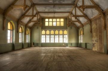 Old hall in an abandoned hospital in beelitz