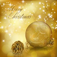 Golden Xmas greeting card with gold Christmas ball and cones