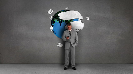 Businessman standing in front of animated envelopes
