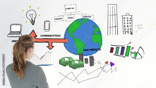 Colored animation showing business plan and a businesswoman