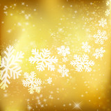 Golden Xmas background. Abstract winter design with stars and sn