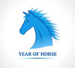 Blue horse. Symbol of new year 2014.