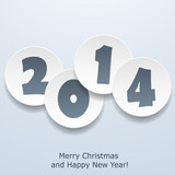 Modern Merry Christmas and Happy New Year greeting card