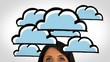 Animation of clouds and light bulbs appearing over womans head