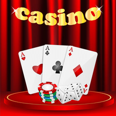 casino background.set of objects for a casino on a background of