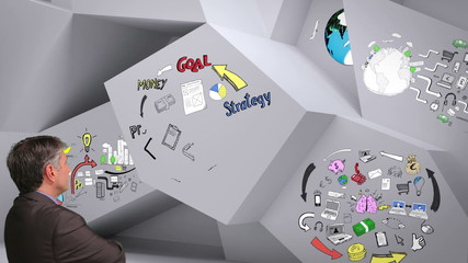 Animation showing business plan cycle in 3d room