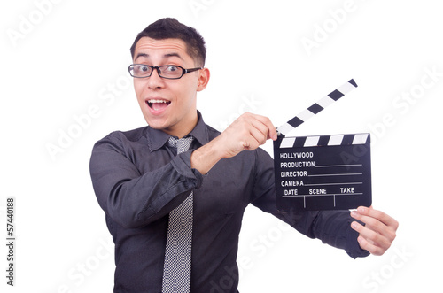 Funny man with movie clapper
