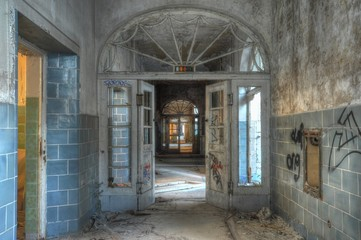 Old corridor in a abandoned hospital
