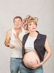 Frustrated Man with Pregnant Woman