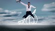 Businessman jumping over success graphic