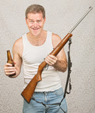 Man with Rifle and Beer