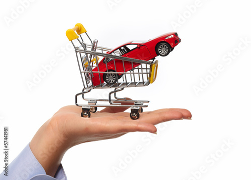 New car in shopping cart.