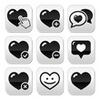 Heart, love vector buttons set