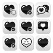 Heart, love vector buttons set