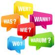 Sprechblasen Fragen bunt