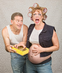 Sorry Man with Angry Expecting Woman