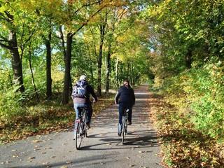 Fahrradfahrer im Herbst
