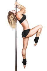 Sexy pole dancer practice