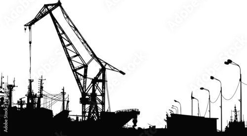 Vector Silhouette of the port crane - 57443178