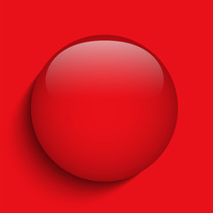 Red Alert Glass Circle Button on Red Background